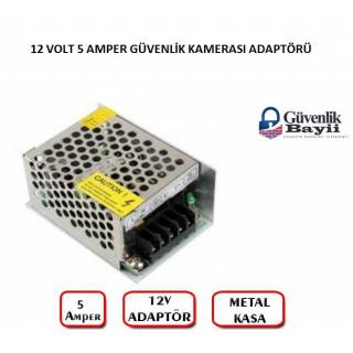 12 Volt 5 Amper Metal Kasa Adaptör Small