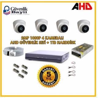 4 DOME Kameralı 2MP AHD Güvenlik Kamerası Sistemi 1 TB HARDDİSK DAHİL
