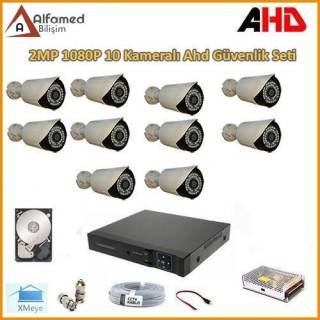 2MP 1080P 10 Kameralı AHD Güvenlik Sistemi (Harddisk Dahil)