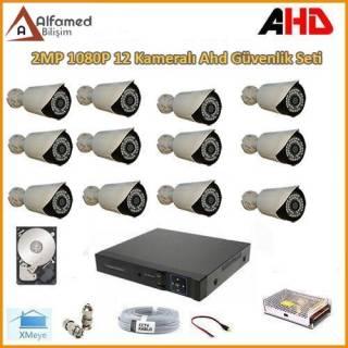 2MP 1080P 12 Kameralı AHD Güvenlik Sistemi (Harddisk Dahil)