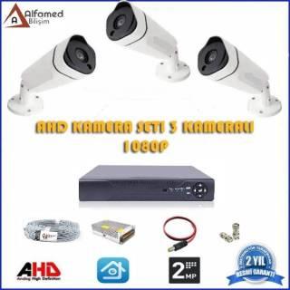 2MP 3 Kameralı AHD Güvenlik Sistemi 1080p Gece Görüşlü Su Geçirmez