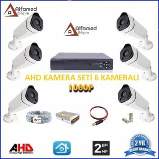 2MP 6 Kameralı AHD Güvenlik Sistemi Gece Görüşlü Su Gecirmez 1080p