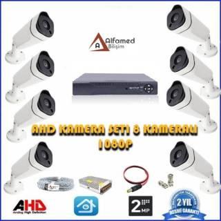 2MP 8 Kameralı AHD Güvenlik Sistemi 1080P Gece Görüşlü Su Geçirmez.