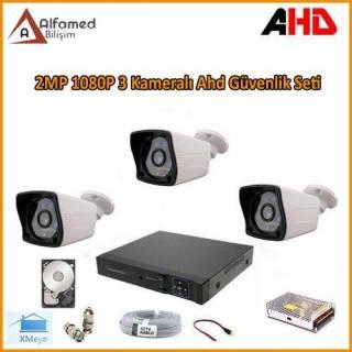 2MP 1080P 3 Kameralı AHD Güvenlik Sistemi (320GB Harddisk Dahil)