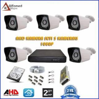 2MP 1080P 5 Kameralı AHD Güvenlik Sistemi (500GB Harddisk Dahil)