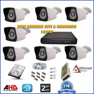 2MP 1080P 7 Kameralı AHD Güvenlik Sistemi (500GB Harddisk Dahil)
