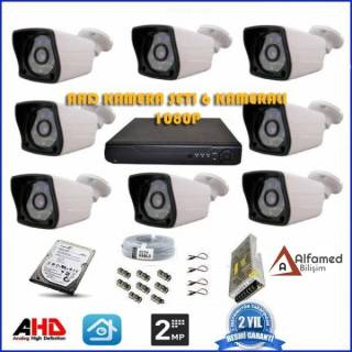 2MP 1080P 8 Kameralı AHD Güvenlik Sistemi (500GB Harddisk Dahil)