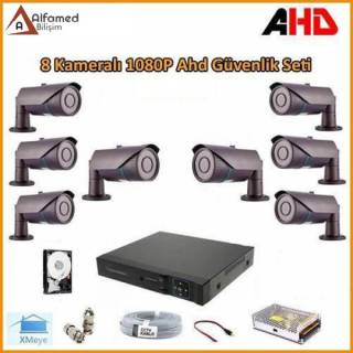 2MP 1080P 8 Kameralı AHD Güvenlik Sistemi (Harddisk Dahil)