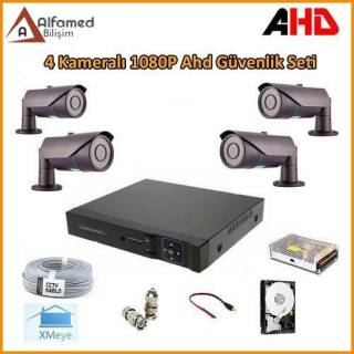 2MP 1080P 4 Kameralı AHD Güvenlik Sistemi (Harddisk Dahil)