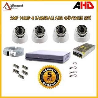 2MP 4 Dome Kameralı İç Ortam Kamera Seti 1080P Full hd