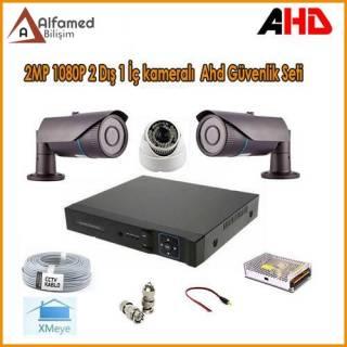 2MP 1080P 2 Dış 1 İç Kameralı AHD Güvenlik Sistemi