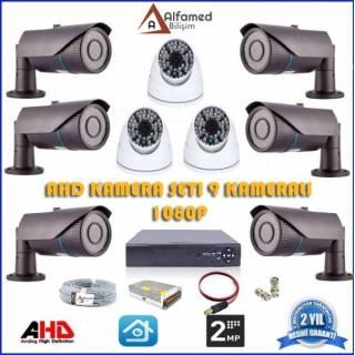 2MP 1080P 6 Dış 3 İç Kameralı AHD Güvenlik Sistemi