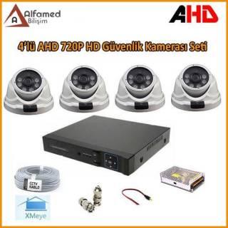 HD 4 DOME Kameralı 720P AHD Güvenlik Kamerası Sistemi