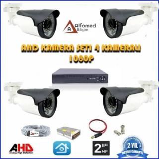 2MP AHD 4 Kameralı Güvenlik Sistemi 1080P Gece Görüşlü Su Geçirmez