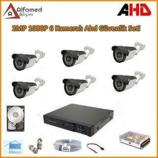 2MP 1080P AHD 6 Kameralı Güvenlik Sistemi Su Geçirmez Gece Görüşlü
