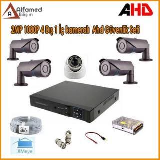 2MP 1080P 4 Dış 1 İç Kameralı AHD Güvenlik Sistemi