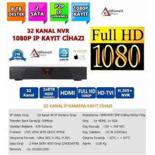 32 KANAL NVR IP KAMERA KAYIT CİHAZI 1080p 2MP