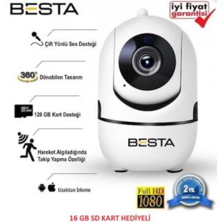 BESTA Kablosuz Kamera 1080P Harekete Duyarlı 360 Derece 2MP 16GB BB-1614