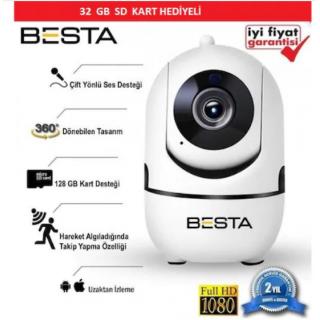 BESTA Kablosuz Kamera 1080P Harekete Duyarlı 360 Derece 2MP 32GB BB-1614