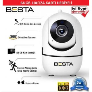 BESTA Kablosuz Kamera 1080P Harekete Duyarlı 360 Derece 2MP 64GB BB-1614