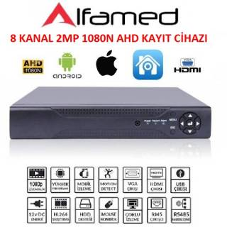 8 KANAL DVR AHD KAYIT CİHAZI HİBRİT 5 IN 1DVR 2MP 1080H