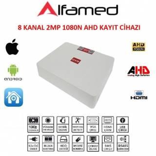 ALFAMED 8 KANAL 2MP 1080 AHD DVR KAYIT CİHAZI XMEye YAZILIM AF-1508