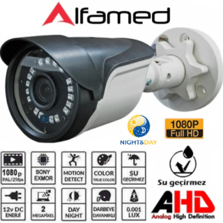 ALFAMED 2MP 1080P FULL HD AHD Bullet Güvenlik Kamerası AL-1209