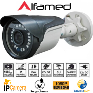 ALFAMED 2MP 1080P FULL HD IP Bullet Güvenlik Kamerası AL-1209IP
