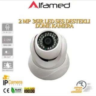 2 MP 1080p 36 LED SES DESTEKLİ IP DOME GÜVENLİK KAMERASI AL-3910