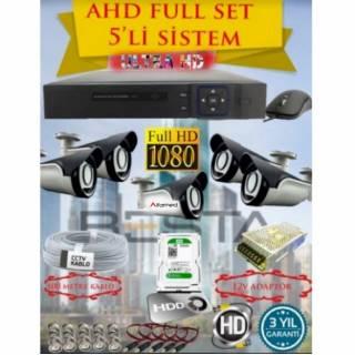 2MP AHD 1080P 5 Kameralı Gece Görüşlü Güvenlik Kamera Sistemi (250GB HDD)